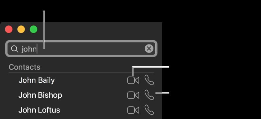 Skriv inn et navn, et telefonnummer eller en e-postadresse i søkefeltet. Klikk på Video-knappen for å starte en FaceTime-videosamtale. Klikk på Lyd-knappen for å starte en lydsamtale i FaceTime eller en telefonsamtale.