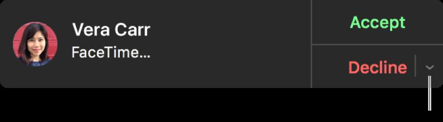 Kliknij wstrzałkę obok przycisku Odrzuć wpowiadomieniu, aby wysłać wiadomość tekstową lub utworzyć przypomnienie.
