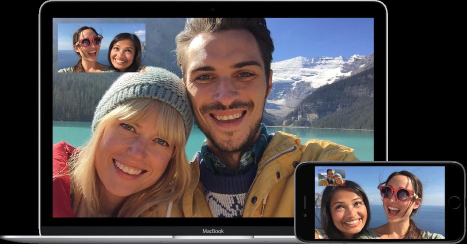 Dois amigos fazendo uma ligação FaceTime de vídeo com um casal. Os dois amigos, que usam um MacBook, veem o casal na imagem principal e a si em PIP, no canto superior esquerdo da tela. O casal usa um iPhone e vê seus amigos na imagem principal e a si no canto superior.