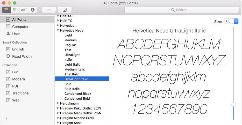 The Font Book window showing a list of fonts with one sample being previewed.