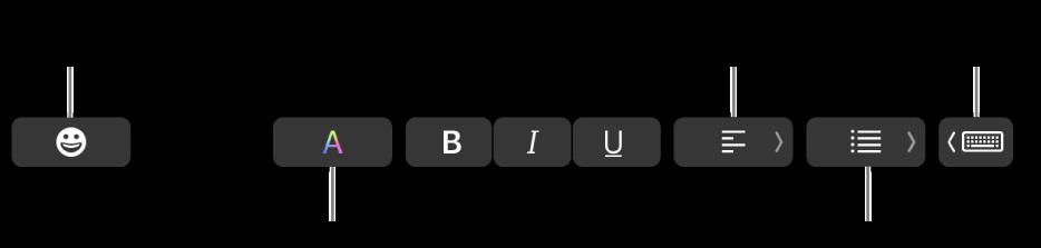 الـTouchBar وتظهر عليه أزرار من تطبيق البريد تشمل - من اليسار إلى اليمين - إيموجي، والألوان، وعريض، ومائل، وتسطير، ومحاذاة، والقوائم، واقتراحات الكتابة.