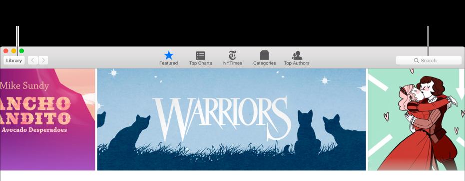 Panel nástrojů viBooks Storu Chcete‑li se vrátit do knihovny, klikněte na položku Knihovna.