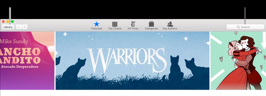 Työkalupalkki iBooks Storessa. Pääset takaisin omaan kirjastoosi klikkaamalla Kirjasto.