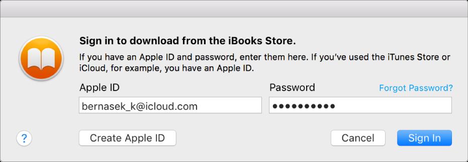 Nyitott könyv a Mac gép iBooks alkalmazásában.