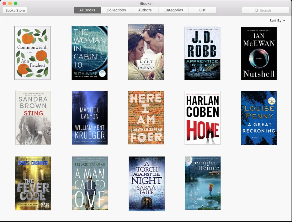 Az iBooks Store Kategóriák területe, ahol népszerű könyvek láthatók a Művészetek és szórakozás, illetve az Életrajzok és emlékiratok kategóriákban.