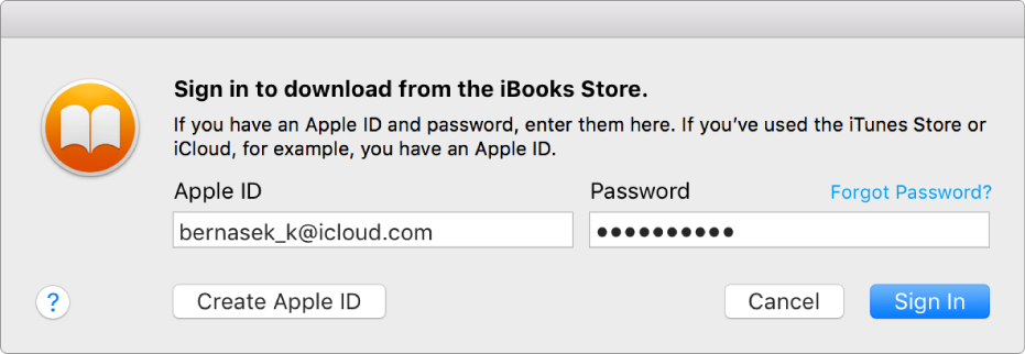 Buku terbuka di iBooks di Mac.