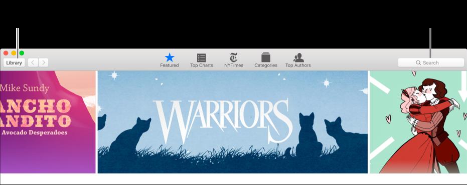 Bar alat di iBooks Store. Klik Perpustakaan untuk kembali ke perpustakaan Anda.