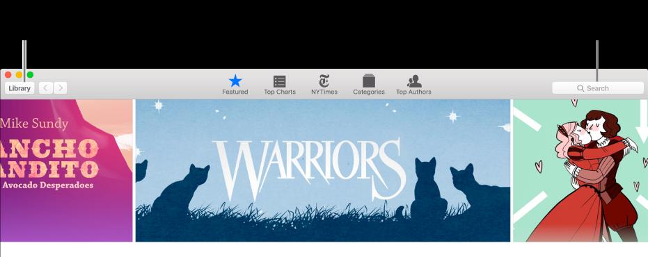 La barra degli strumenti in iBooks Store. Fai clic su Libreria per tornare alla libreria.