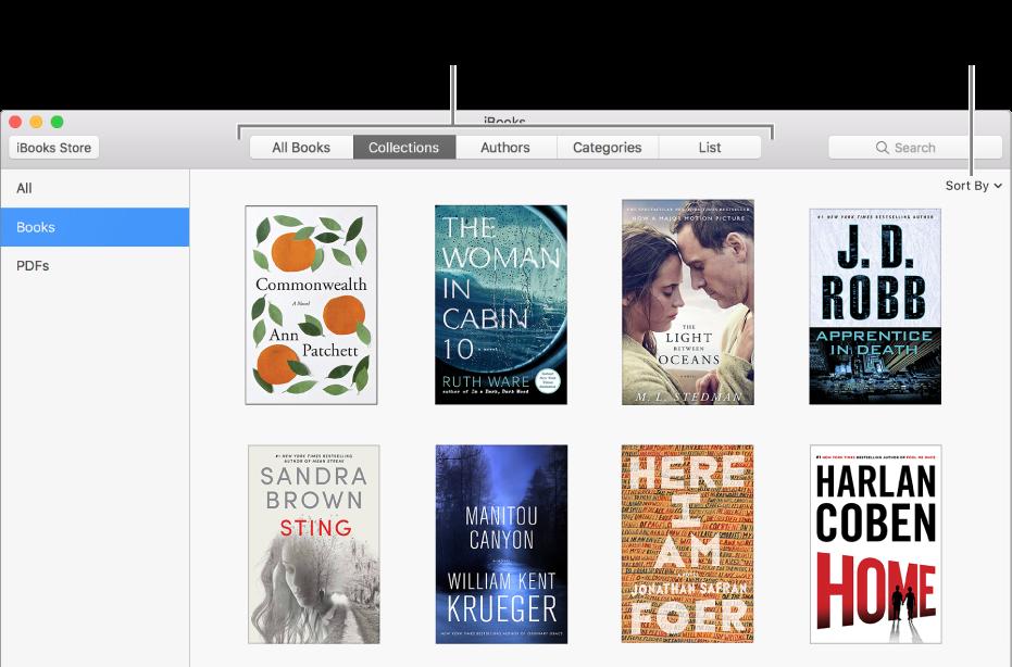 Uma coleção de livros na biblioteca do iBooks.