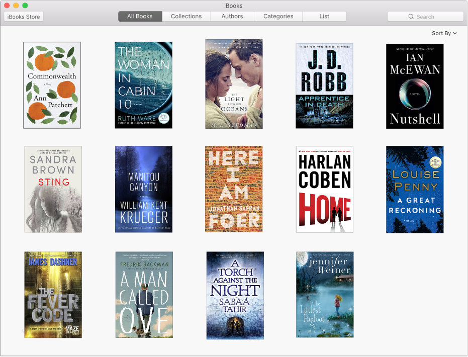 Området Kategorier i iBooksStore, med populära böcker under Konst och underhållning och Biografier och memoarer.