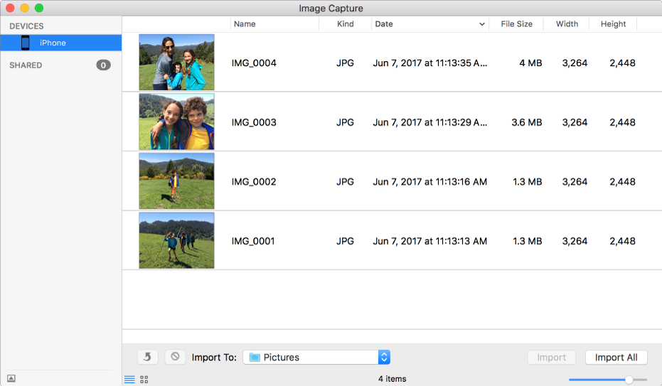 The Image Capture window showing images on a device.