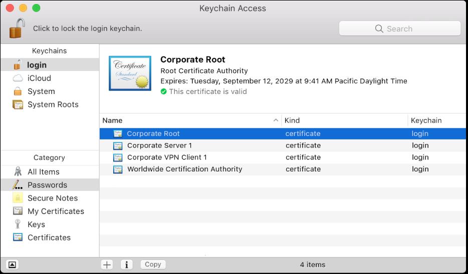 인증서를 표시하는 키체인 접근 윈도우.