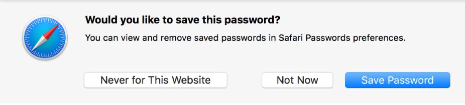 Dialoogvenster met de vraag of je een wachtwoord wilt bewaren.