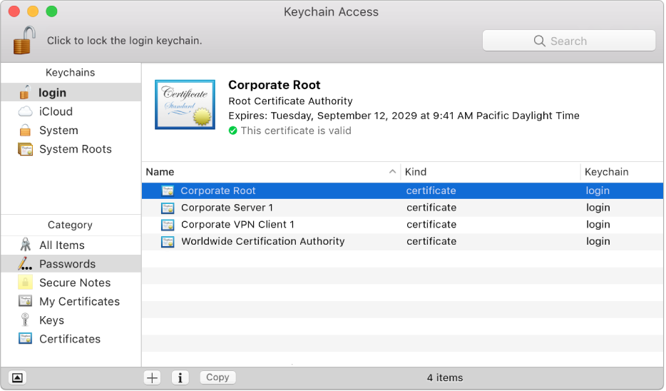 Janela do Acesso a Porta‑chaves a mostrar os certificados