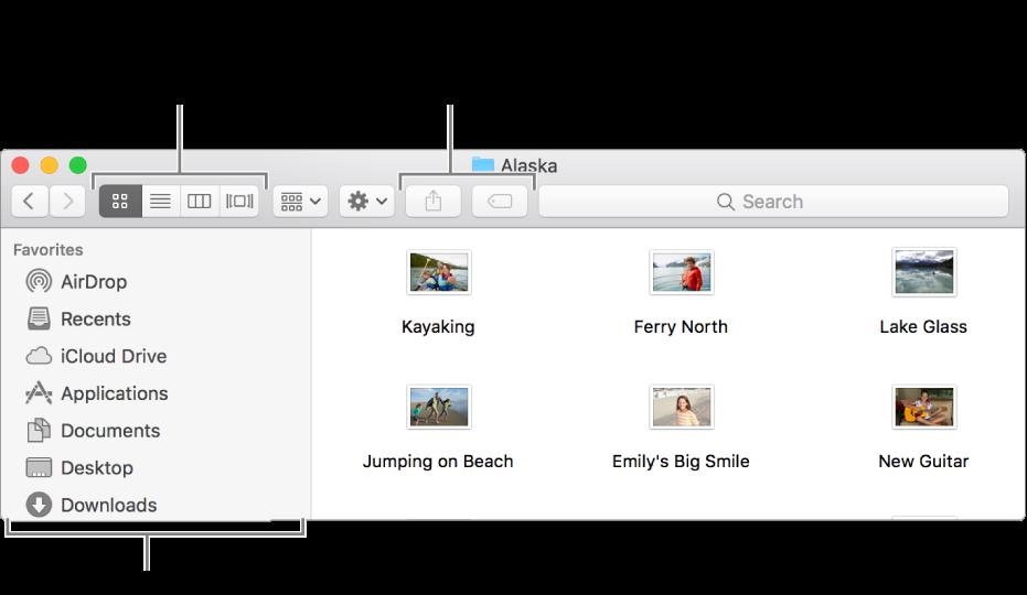 مثال لإحدى نوافذ Finder.