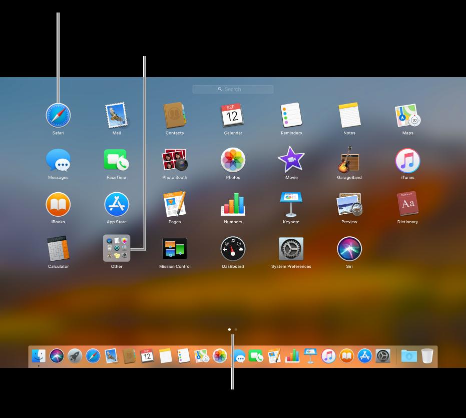 لوحة Launchpad