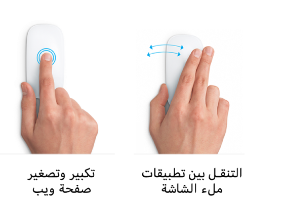 أمثلة على إيماءات الماوس للتكبير والتصغير في صفحة ويب والتنقل بين تطبيقات ملء الشاشة.