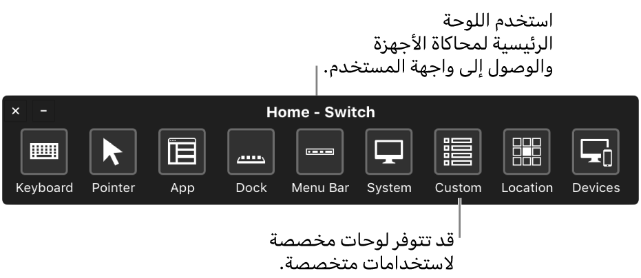 استخدم اللوحة الرئيسية للتحكم في مفاتيح التبديل لمحاكاة الأجهزة وتوفير الوصول إلى واجهة المستخدم. قد تكون اللوحات المخصصة متوفرة لاستخدامات خاصة.