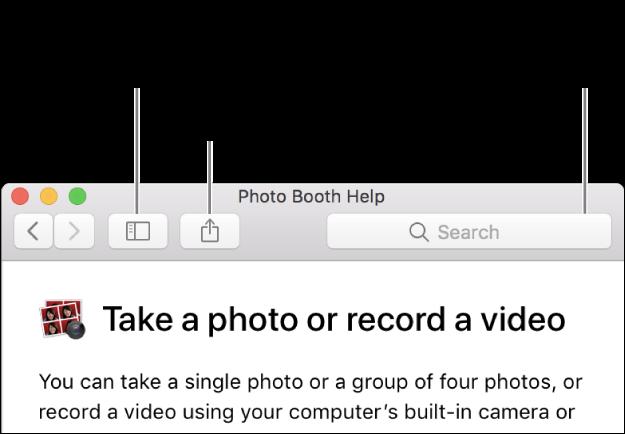 نافذة مساعدة تعرض الزر في شريط الأدوات للنقر عليه من أجل إظهار مزيد من الموضوعات، وزر مشاركة موضوع، وحقل البحث للبحث عن مساعدة على الـMac.