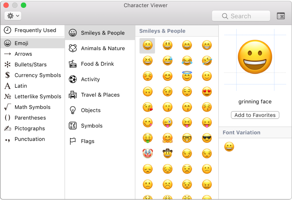 Prohlížeč znaků zobrazující emotikony asymboly.