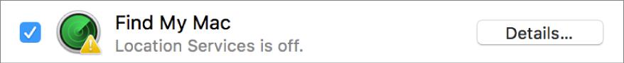 Tlačítko Podrobnosti vpravo od funkce Najít můj Mac