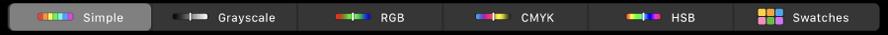 TouchBar se zobrazením barevných modelů (zleva doprava): Jednoduchý, Stupně šedi, RGB, CMYK aHSB. Na pravém kraji je vidět tlačítko Ukázky