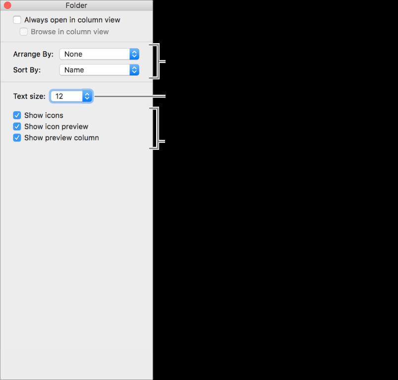 Okno se seznamem voleb sloupcového zobrazení.