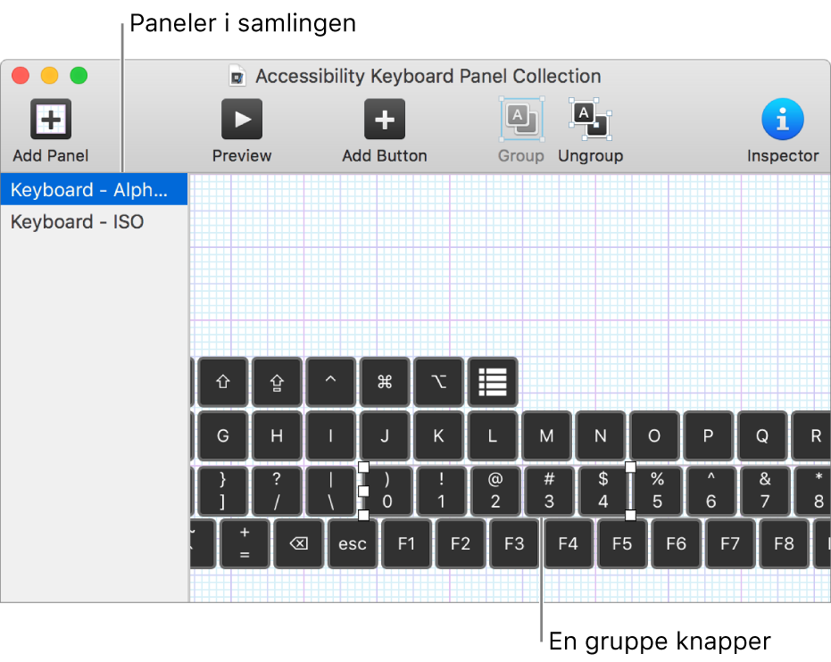En del af en panelsamling, der viser en liste over tastaturpaneler til venstre og knapper og grupper i et panel til højre.