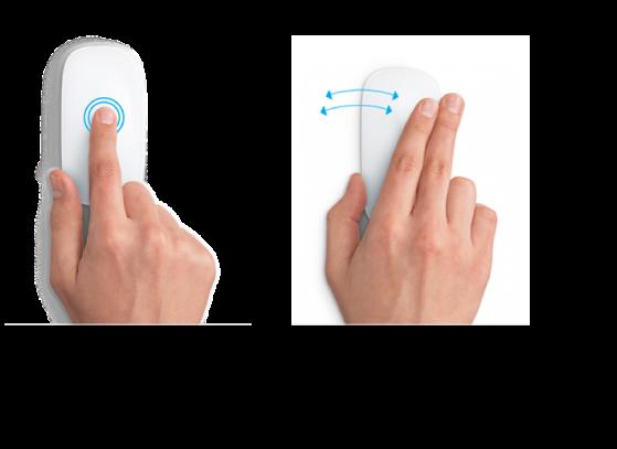 Eksempler på bevægelser med musen til at zoome ind og ud af en webside og flytte mellem programmer på fuld skærm.