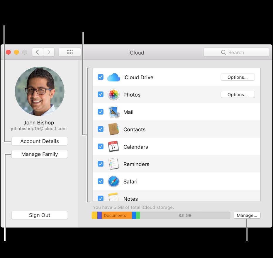 """Systemeinstellung """"iCloud"""", bei der alle Funktionen aktiviert sind"""