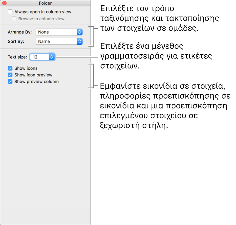 Ένα παράθυρο που δείχνει τις επιλογές προβολής «Στήλη».