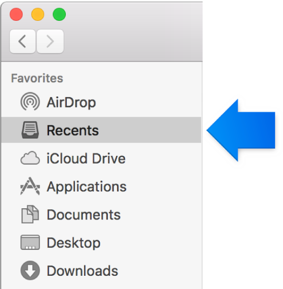 A blue arrow pointing to the Recents folder.