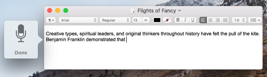 The dictation feedback window alongside dictated text in a TextEdit document.