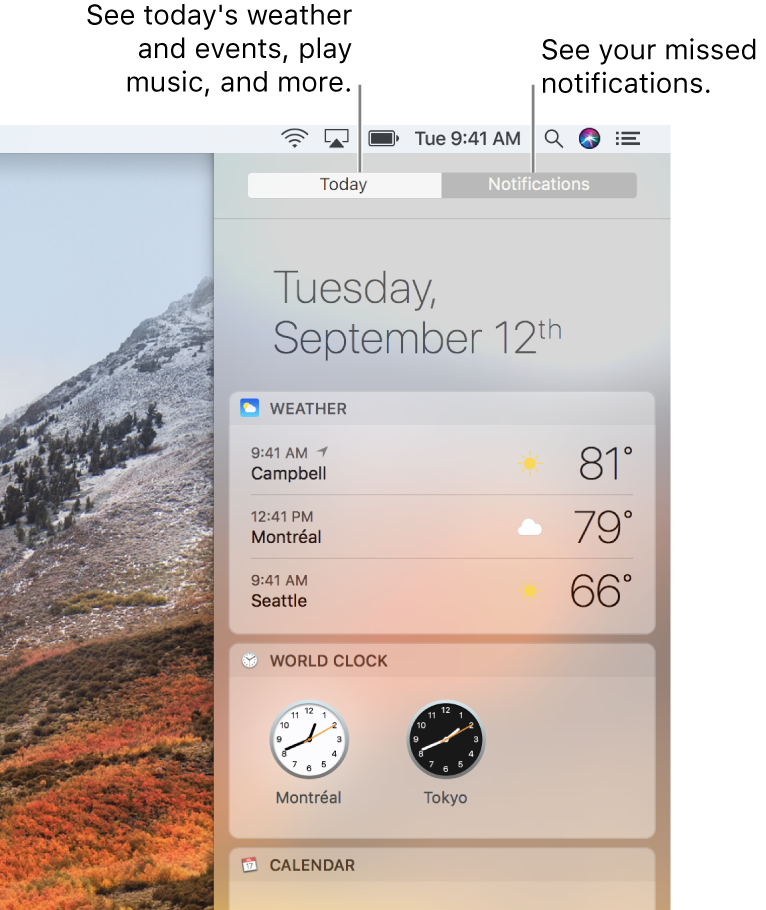 Today view showing weather and world clocks. Click the Notifications tab to see missed notifications.
