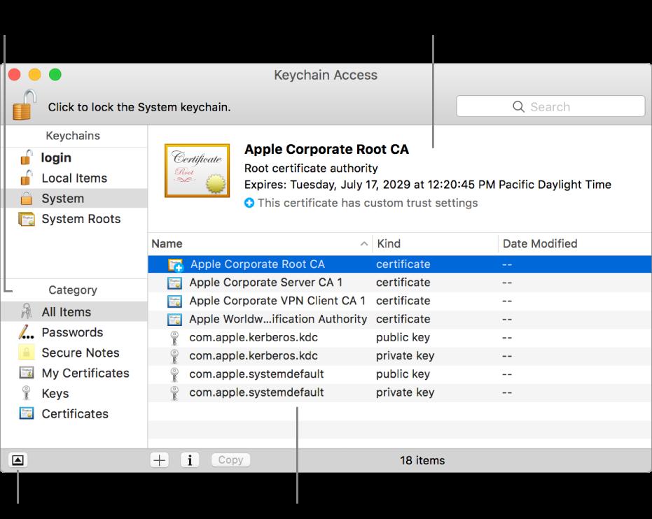 apple keychain. the main areas of keychain access window: list categories, apple a
