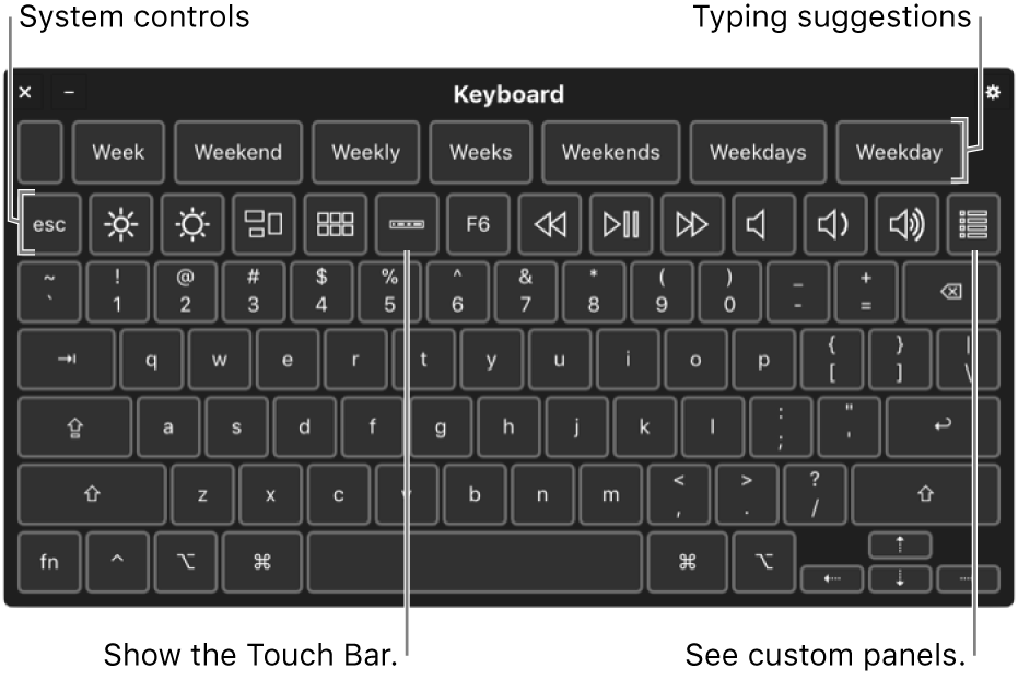 The Accessibility Keyboard with typing suggestions across the top. Below is a row of buttons for system controls to do things like adjust display brightness, show the Touch Bar onscreen, and show custom panels.