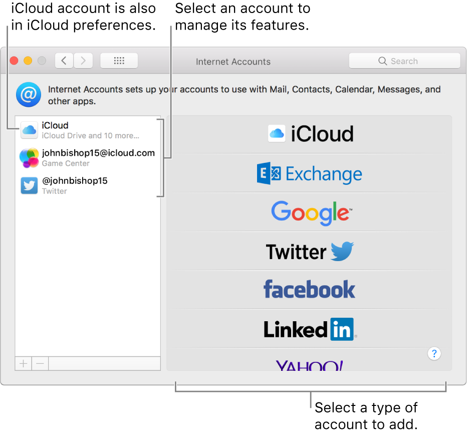 Internet Accounts preferences with iCloud and Twitter accounts listed on the right and available account types listed on the left.