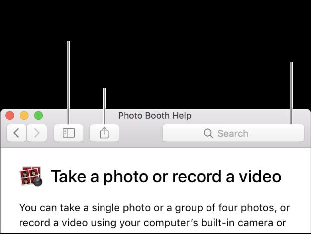 Una ventana de ayuda mostrando el botón en la barra de herramientas para hacer clic para mostrar más temas, el botón para compartir un tema y el campo de búsqueda para buscar ayuda en la Mac.