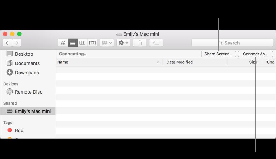 La sección compartida de la barra lateral del Finder con una Mac seleccionada.