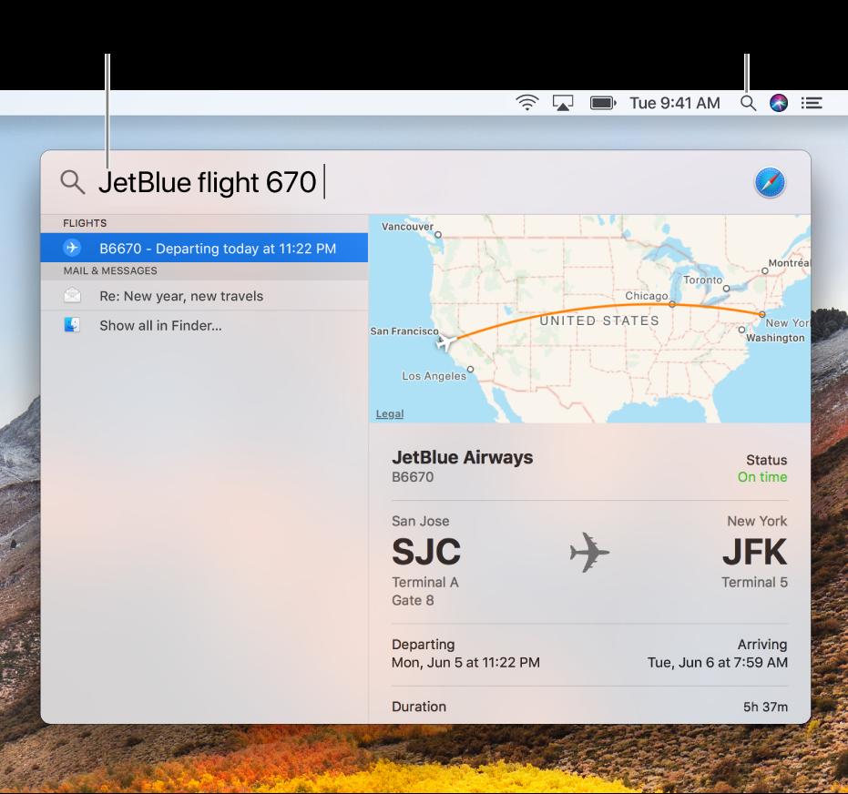 El menú Spotlight mostrando una búsqueda de ejemplo con resultados de búsqueda.