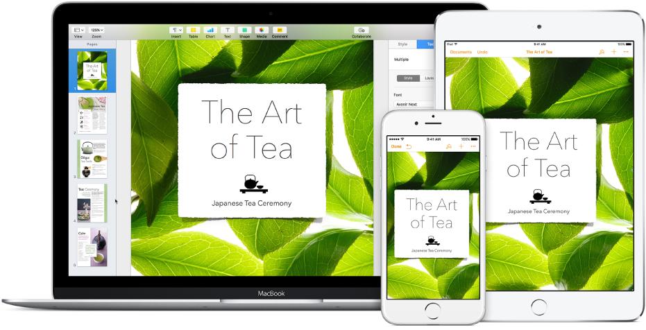 Los mismos archivos y carpetas aparecen en iCloud Drive en una ventana del Finder en una Mac y en la app iCloud Drive en un iPhone y un iPad.