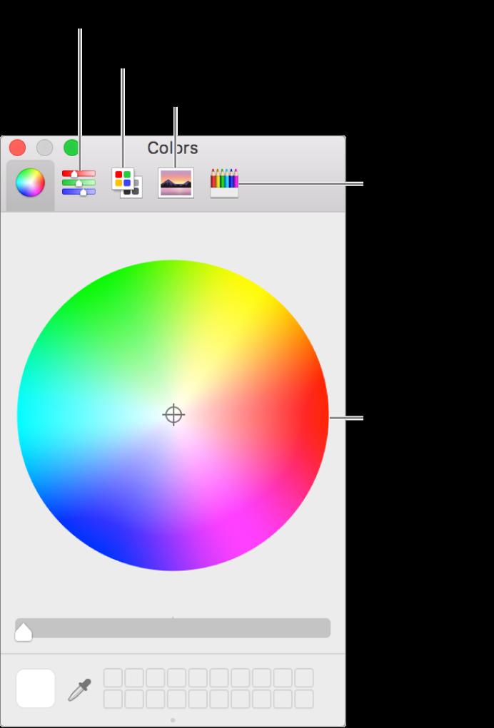 La ventana de colores muestra los botones con reguladores de color, paletas de color, paletas de imágenes, y lápices en la barra de herramientas en la rueda de color.