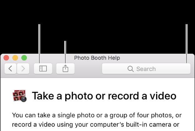 Una ventana de Ayuda mostrando el botón de la barra de herramientas en el que hay que hacer clic para mostrar más temas, el botón para compartir un tema y el campo de búsqueda para buscar ayuda en el Mac.