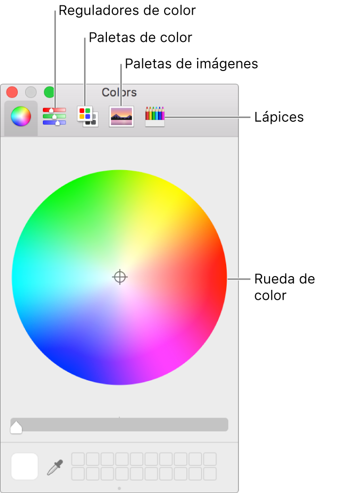 La ventana Colores muestra los botones de los reguladores de color, las paletas de color, las paletas de imágenes y los lápices en la barra de herramientas y en la rueda de color.