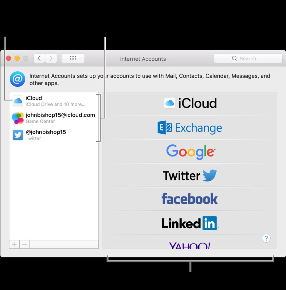 """Panel de preferencias """"Cuentas de Internet"""" con cuentas de iCloud y Twitter a la derecha y los tipos de cuenta disponibles indicados a la izquierda."""