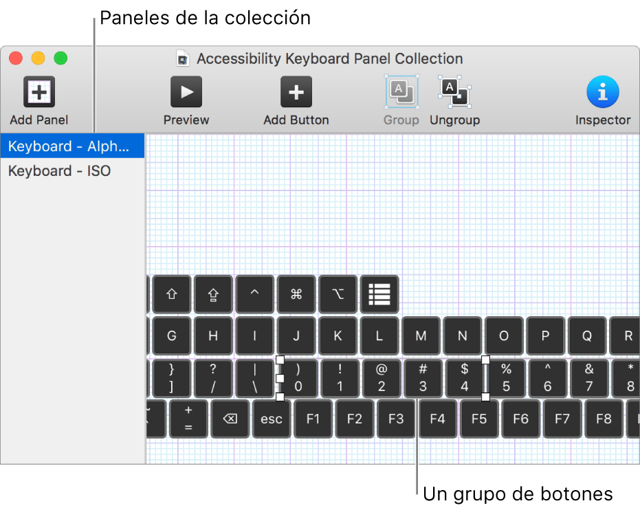 Una parte de una ventana de colección de paneles que a la izquierda muestra una lista de paneles de teclado y a la derecha botones y grupos de botones incluidos en un panel