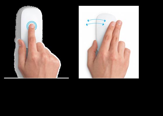 Esimerkkejä hiirieleistä verkkosivun lähentämiseen ja loitontamiseen ja koko näytön ohjelmien välillä siirtymiseen.