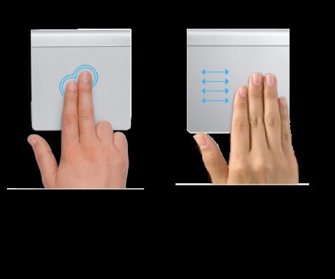 Esimerkkejä ohjauslevyeleistä verkkosivun lähentämiseen ja loitontamiseen ja koko näytön ohjelmien välillä siirtymiseen.