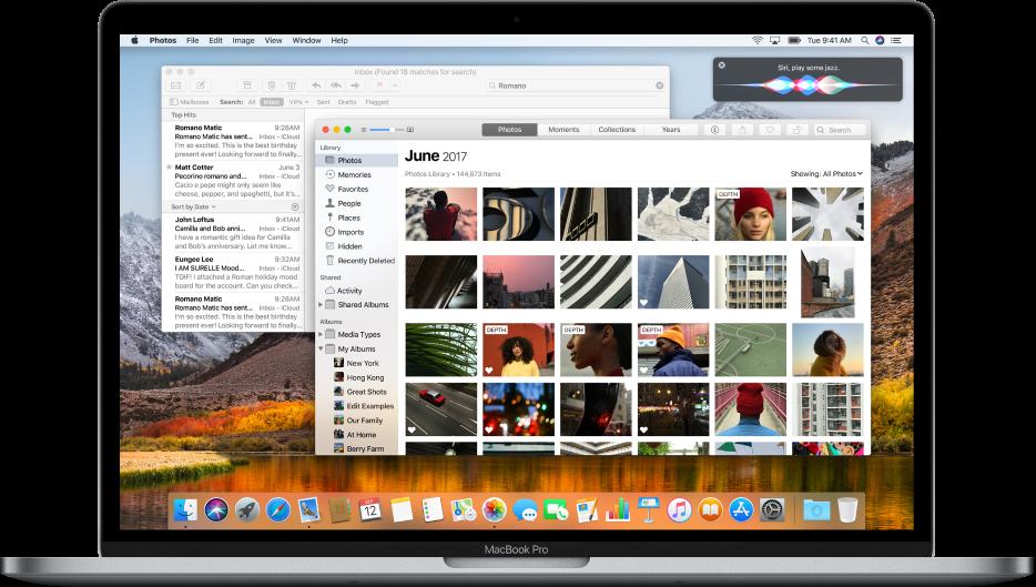 Mac-tietokone, jossa näkyy avoimia ohjelmia työpöydällä.
