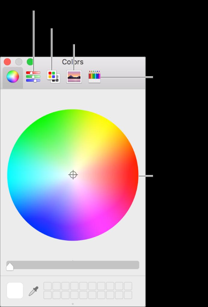 Värit-ikkuna, jossa näkyy työkalupalkissa väriliukusäädin-, väripaletti-, kuvapaletti- ja kynäpainikkeet sekä väriympyrä.